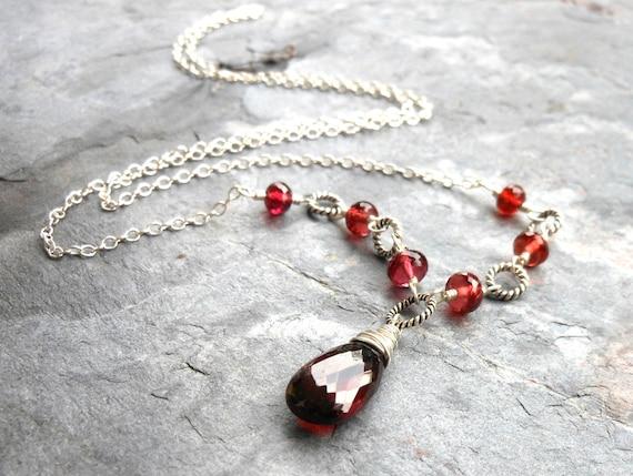 Garnet Necklace Sterling Silver Timeless Jewelry Deep Red Gemstone Necklace Teardrop, January Birthstone
