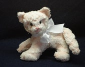 Vintage Chenille Handmade Soft Sculpted  Pink And White Kitty Cat
