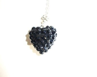 Because you hold my black heart.. Dainty  rhinestone necklace on Sterling chain