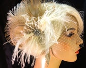 Feather Bridal Fascinator, Feather Fascinator, Bridal Fascinator, Wedding Veil, Fascinator, Ivory/Champagne - Fancy Peacock