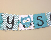 Owl Baby Shower Banner - Boy Baby Shower - Owl Baby Shower - Owl Decoration - Teal Chevron