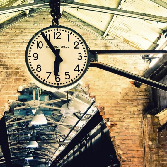 Fine Art Photography, Travel Photography, City, Clock, Warehouse, Urban, Decor 12x12 print