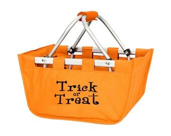 SHIPS NEXT DAY---Monogrammed Reusable Mini Market Tote Basket Orange Halloween--Free Monogramming--