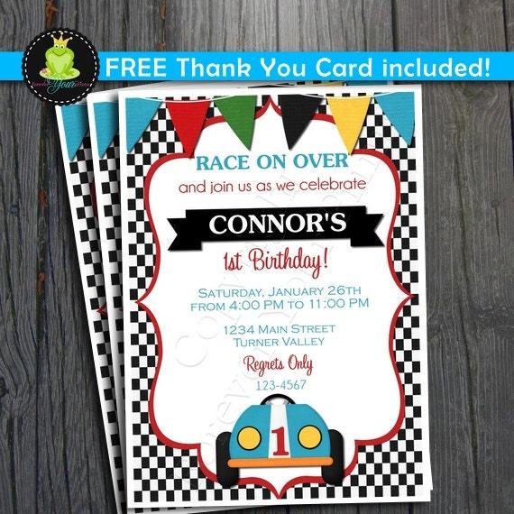 Race Car Birthday Invitation FREE Thank You By