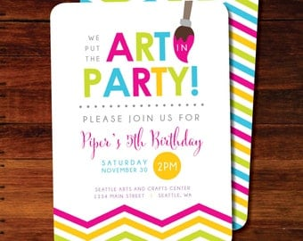 Art party Birthday invitations Chevron - set of 15