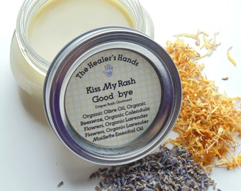 Kiss My Rash Good-bye ~ Organic Diaper Rash Balm ~ 8oz  Glass Mason Jar