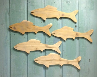 Fish Natural Wood Fish Wooden Sign Wall Art Lake Beach House Cabin Cottage by CastawaysHall