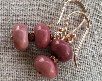 Earrings- Pink Moukaite Jasper Copper and Rose Gold Dangle Earrings