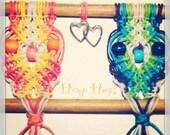 Love Birds, macrame owl wall hanging, valentines day, love, hearts, hippie, 70s, retro