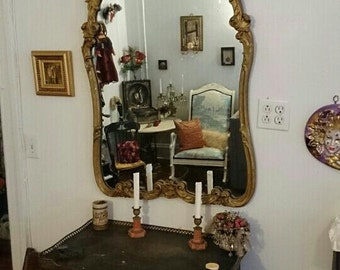 Age of Innocence Gilded Carved Mirror with Oil Painting of 18th Century Lovers