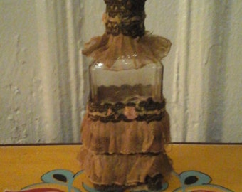 c1920s One of a Kind Crystal Perfume Bottle with Flapper Stocking Garter Lace Roses