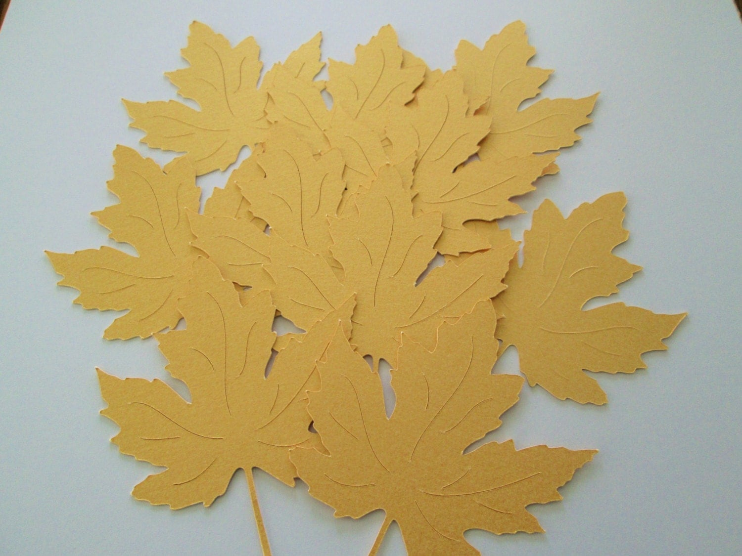 30 Large Metallic Gold Fall Maple Leaves Die Cuts