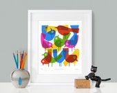 Primary Birds by Lo Cole - Limited Edition Pigment Ink Print A4