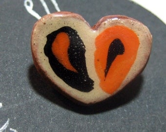 Handmade ceramic buttons -  pair of small red and black heart pottery buttons C9