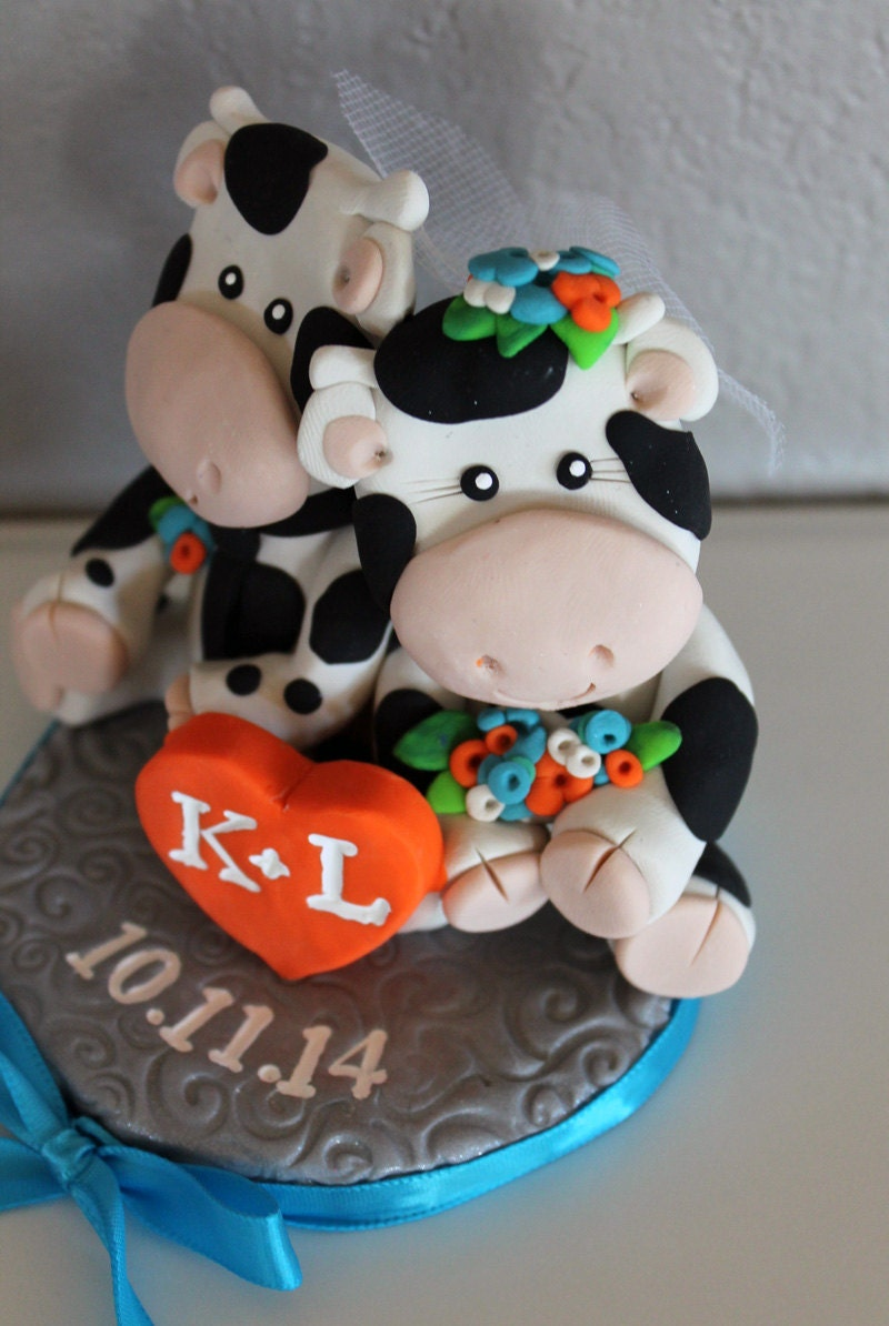 cow wedding cake toppers uk custom cow wedding cake topper 13034