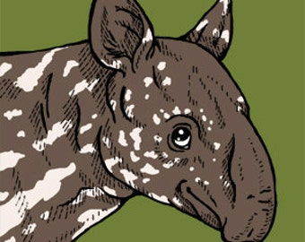 Baby Baird's Tapir glass magnet