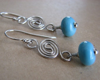 Turquoise Lampwork Bead and Handmade Sterling Silver Double Spiral Dangle Earrings