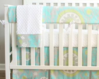 Suzani Aqua and green Bumperless Crib Rail baby bedding set.