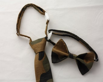 Green and Brown Camo Clip on Necktie - Infant, Toddler, Boys