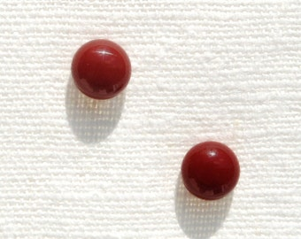 "Petite Fused Glass Stud Earrings, Fused Glass Jewelry, Sterling Silver - Earth Tone, Fall Harvest - Indian Red, 5/16"", 8mm (Item #30802-E)"