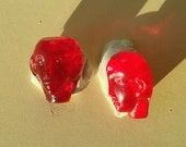 BWB (5) So Very Unusual and Rare Teeny Weeny Vintage Glass Deco Heads Cabochons in Rich Ruby Color 12mm