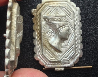 BWB Interesting and Intriguing Vintage Metal Finding Embossed Egyptian Pharoah Head maybe Nefertiti 35mm