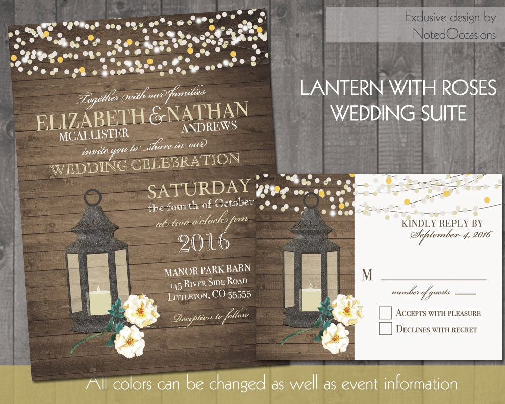 Lantern Wedding Invitations Rustic Fall Or By NotedOccasions