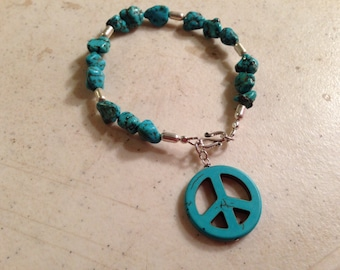 Turquoise Bracelet - Peace Sign Jewelry - Sterling Silver Jewelry - Charm Jewellery - Gemstone - Beaded - Fashion