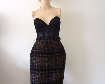 1950s Pencil Skirt vintage wool boucle wiggle skirt