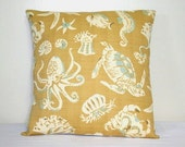 Beige and Blue Sea Shells Sea Creatures Decorative Pillow 18 inch Throw Pillow Cushion Cover