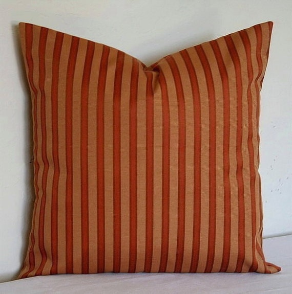 Burnt Orange and Rust Textured Stripe 18inch Decorative Pillows Accent Pillows Throw Pillow Cushion Covers