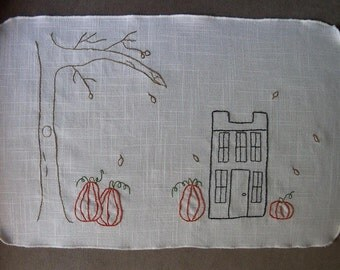 Harvest Home Primitive Simple stitchery on Vintage linen