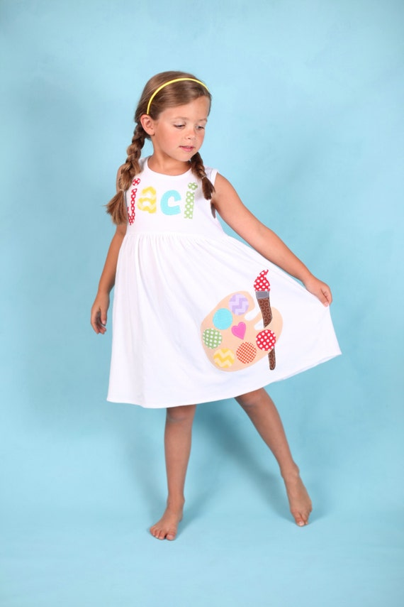 Back to School Dress Paint Palette Applique, Paint Dress, Toddler Dress or Girl's Dress- Choose Dress Color and Sleeve Length
