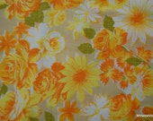 SALE! Vintage Twin Flat Sheet Orange Yellow white flowers on tan