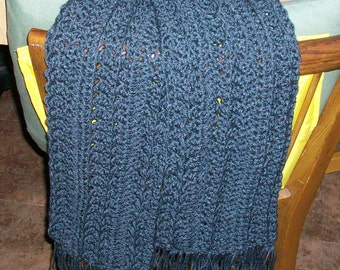 Charcoal Gray Scarf with Fringe; Open Varied Pattern, Soft Acrylic Yarn, Crochet Neck Warmer, Handmade Scarf, Cold Weather Scarf ..