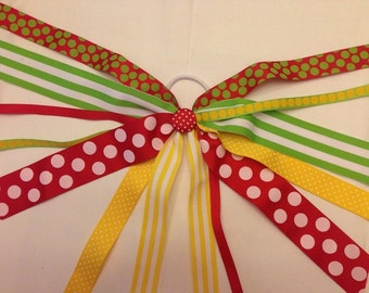 CLEARANCE!!! One of a Kind Ponytail Streamer in Red, Lime, & Yellow