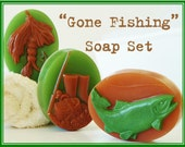 GONE FISHING Soap Gift Set - fish, man, men, natural, shea butter, mango butter, cocoa butter, vegan, gift, bath, dad, father