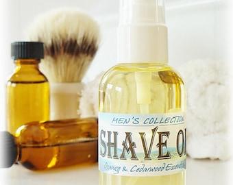 MEN'S SHAVE OIL 2 oz - Orange & Cedarwood Essential Oils, beard oil, shaving oil, shaving cream, shaving soap, mustache, pre-shave oil