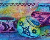 Santa Fe Taos Southwestern Pottery Batik Watercolor  by Colorado Artist Martha Kisling