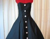 Black Cotton Strapless Sun Dress - small size
