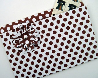 Coupon Organizer Refrigerator File Folder Magnet in Brown and White Polka Dots for Recipes, Coupons and Photos