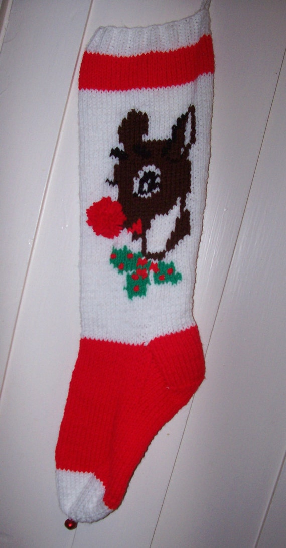 New Hand Knit Christmas Stocking Rudolph Red Nosed Reindeer   Personalized: Ready to be shipped