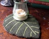 Leaf Shaped Reclaimed Wool Felt Candle Mat