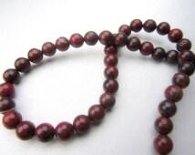 Full Strand Dark Burgundy Red Brecciated Red Jasper Semiprecious 6mm Beads