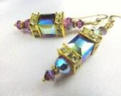 Purple Amethyst AB Swarovski Crystal Cubes on 14k Gold Fill earring wires
