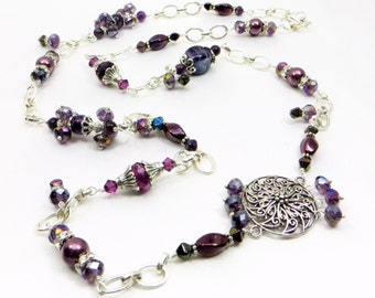 LONG or Short Chunky Amethyst Purple  A-symetrical necklace with charms and Silver accents
