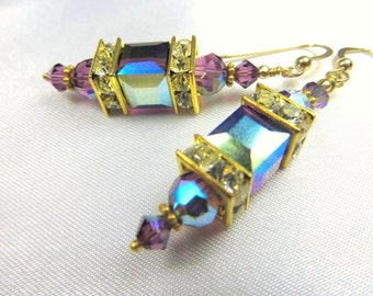 Purple Amethyst AB Swarovski Crystal Cubes on 14k Gold Fill earring wires or leverbacks