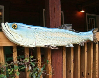 """Tarpon 48"""" chainsaw wood carving sportfish trophy fish indoor outdoor home decor saltwater man cave wall mount art original Todd Lynd"""