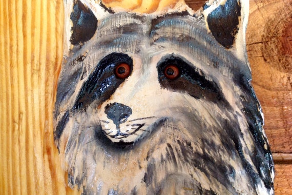 """Raccoon in Tree 36"""" rustic woodland chainsaw wood wildlife carving home decor original Todd Lynd collectible art indoor outdoor wall mount"""