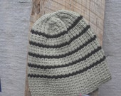 Definitely A Guy Hat - Hand Knit - Ribbed - Light Moss Green/ Black Stripes - Toboggan for Men & Teen Boys - Unisex Warm Winter Watch Cap